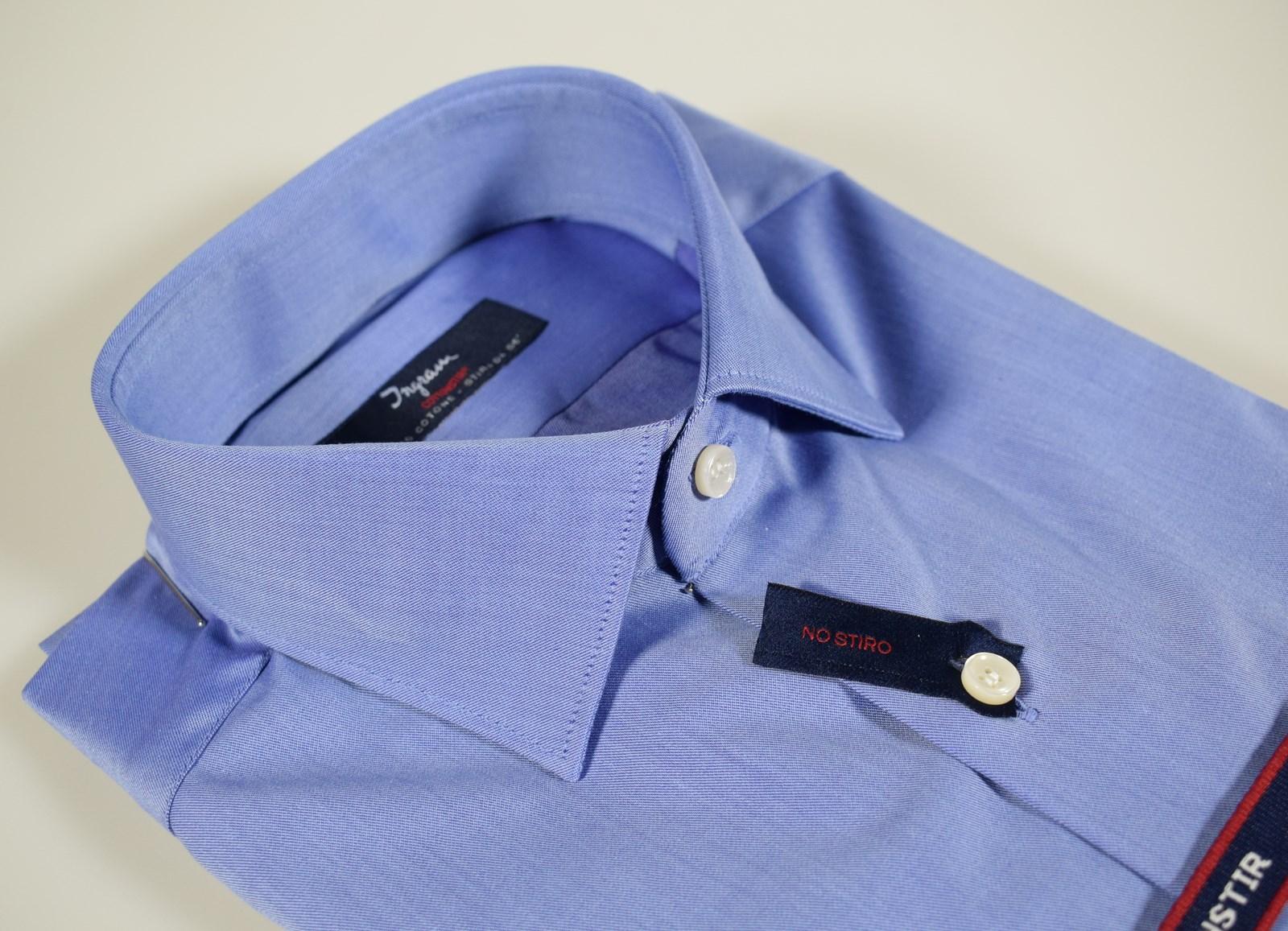 9c3aca1dd0 Dettagli su Camicia uomo Ingram Azzurra Cotone No Stiro Vestibilità Slim  Fit Taglia 37 S